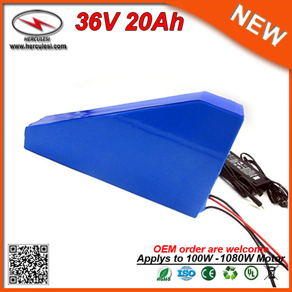 Super power 36 volt 20ah lithium ion battery with triangle bag for electric bike