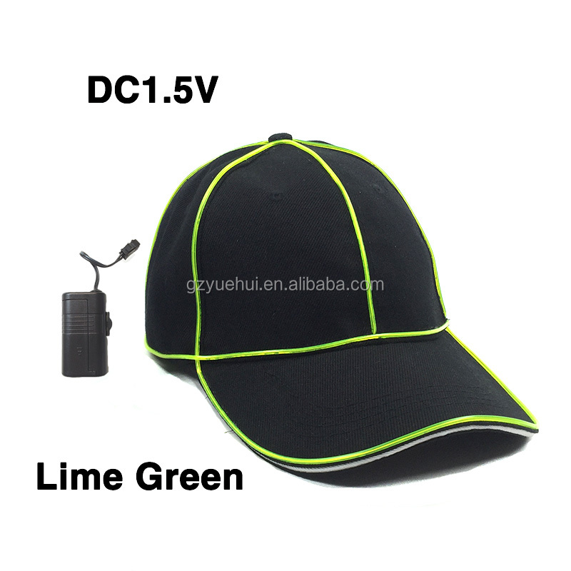 DC1.5V Bright EL Wire Cold Light Party Dance Jazz Hat Neon Led Bulbs Fluorescent Costume Led Neon Cap for Summer Sport Meeting