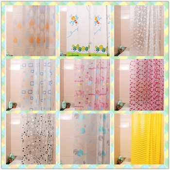 Eco Friendly Good Quality White Flower Printed Clear Plastic EVA Shower Curtain
