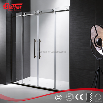 Simple safety glass fully enclosed shower cubicle with folding door