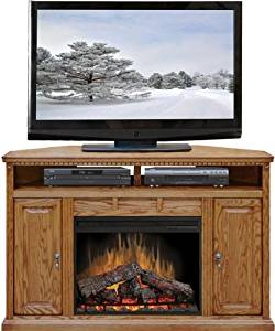 "Legends Furniture SD5102.RST Scottsdale 56"" Corner Fireplace with 3-Space Media Shelf 2 Side Storage Cabinets and 4600 BTU Electric Fireplace in"