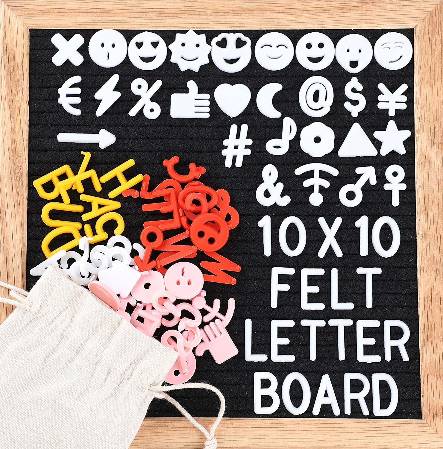 Black Felt Letter Board 10x10 inches. Changeable Letter Boards Include 680 White Yellow Red Pink Plastic Letters & Oak Frame with Olive Oil Applied