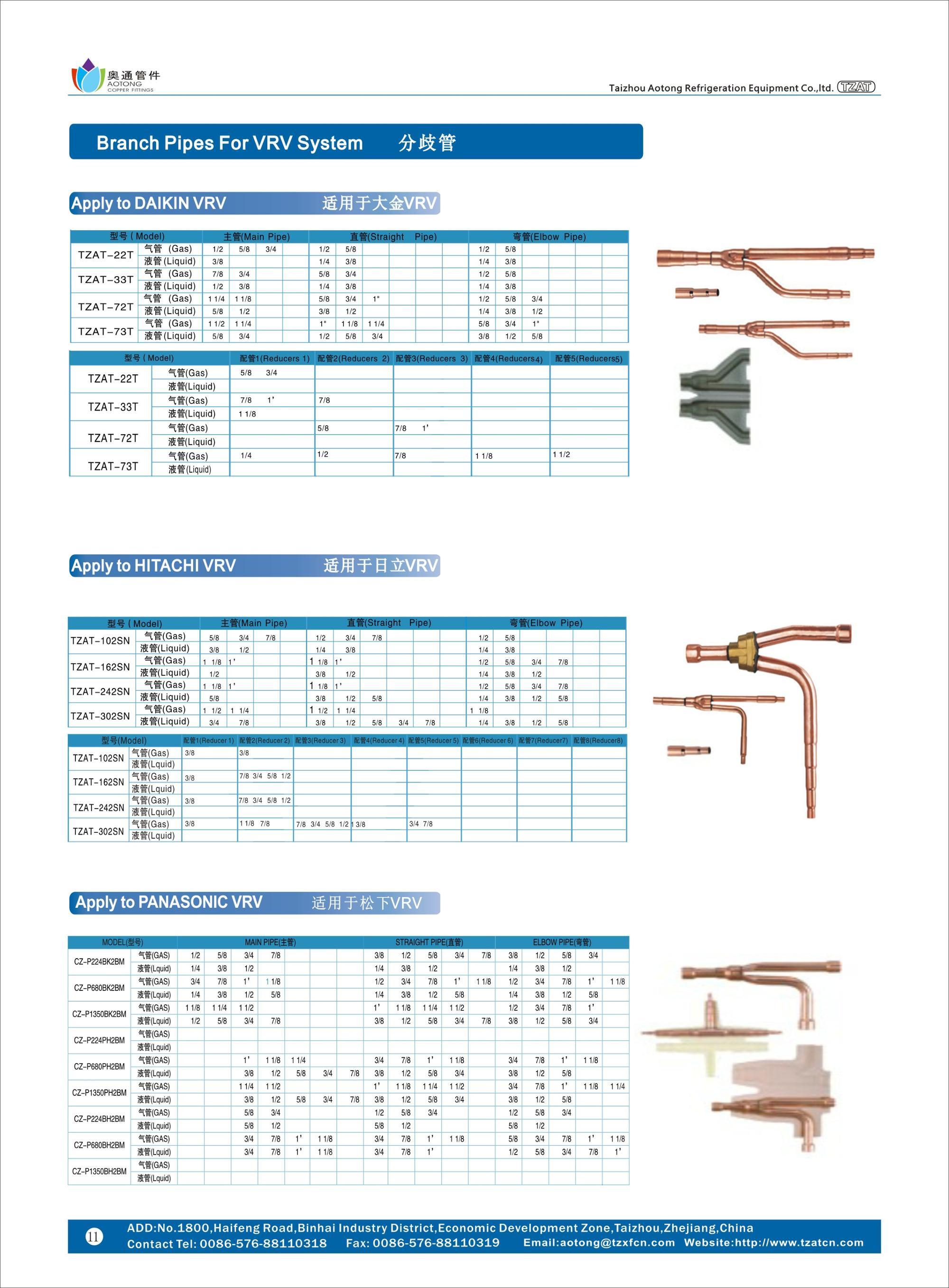 Copper Y Refnet Joints For Vrv Vrf System - Buy Copper Y ...