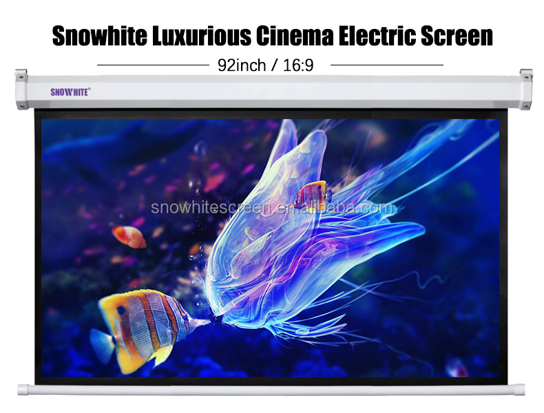 "92"" 16:9 Snowhite Format Luxurious Cinema Electric Projection Screen"