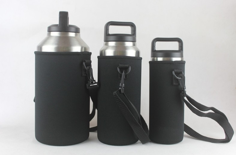 Custom neoprene water bottle holder with strap