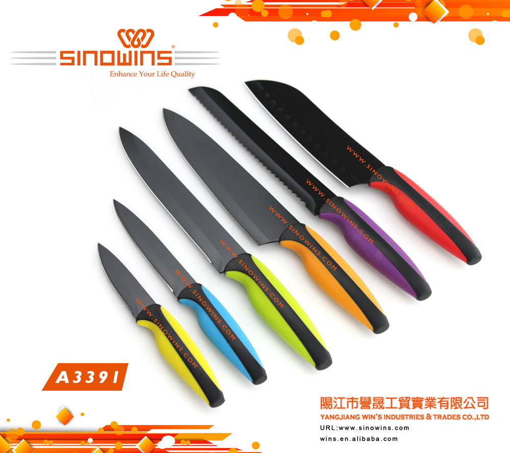 6 piece kitchen knives set with non-stick coated blades