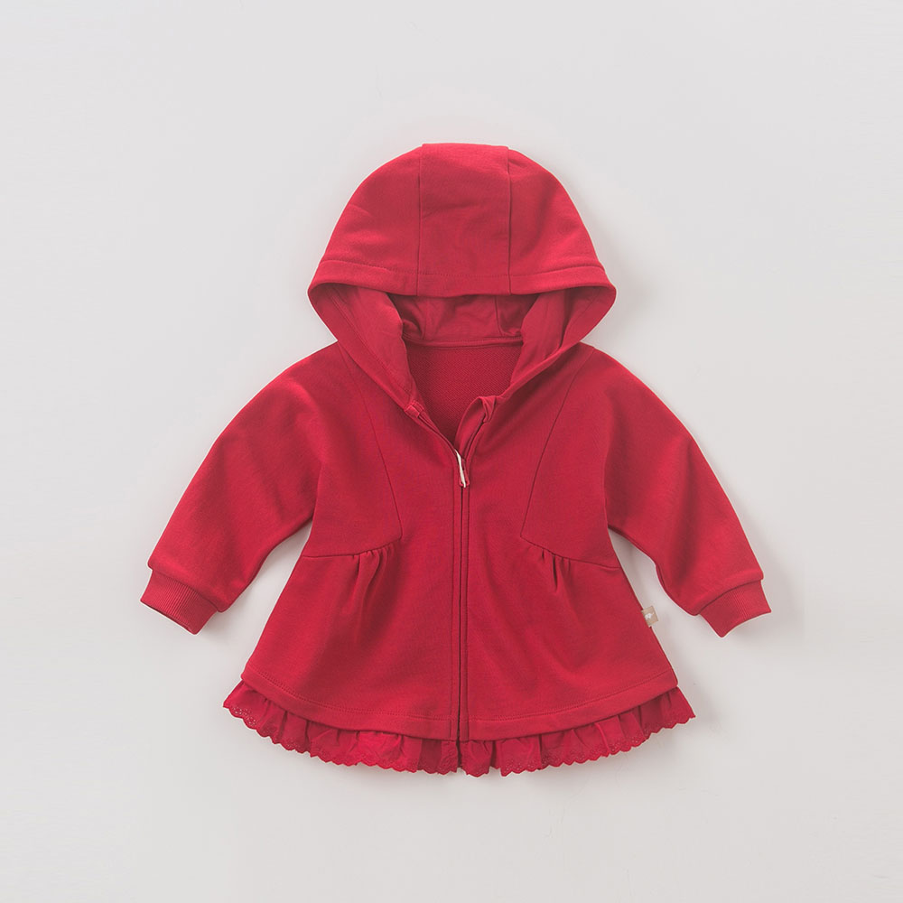DB6042 dave bella baby girls hooded coate kids red outerwear children high quality jean lovely jacket