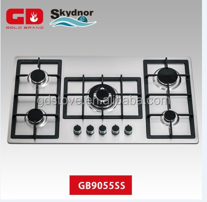 2014 high quality 5 burner 90 cm built in Steel <strong>Gas</strong>