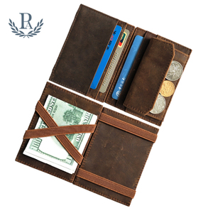 Vintage custom card case with coin pocket rfid blocking men crazy horse leather magic wallet
