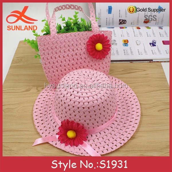 S1931 meninas da criança flor chapéu e conjunto saco de praia bolsa de praia  de palha ae540149e0e