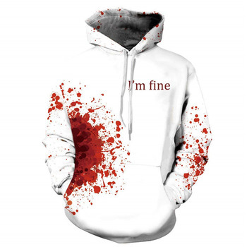 Wholesale hoodie cotton 100% halloween blood I'm fine allover print swag hoodies