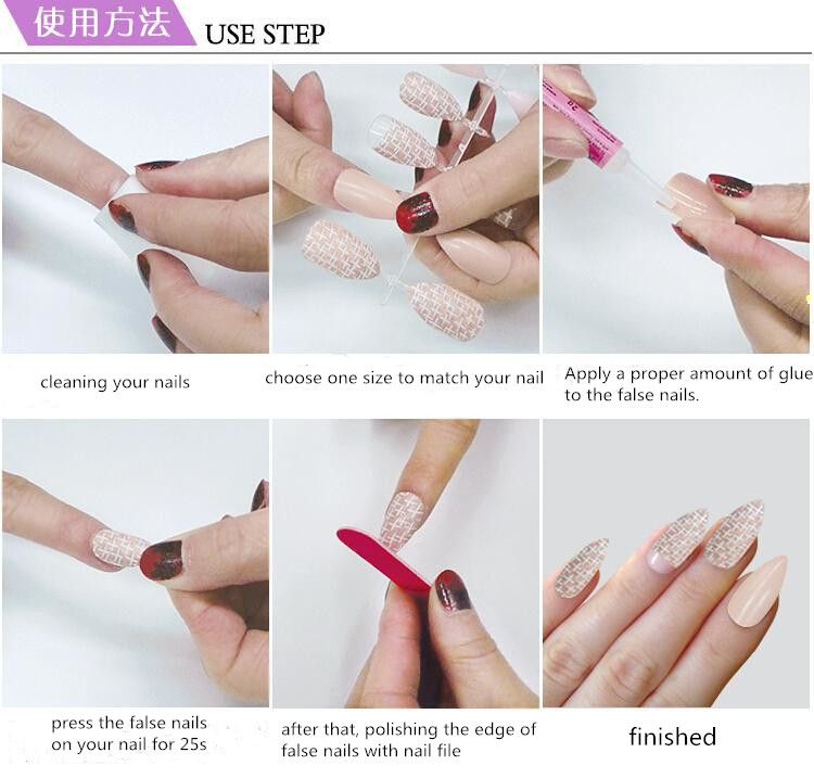 Hot Selling Long Pointed Design-finished False Nail Tips with 24 tips/box