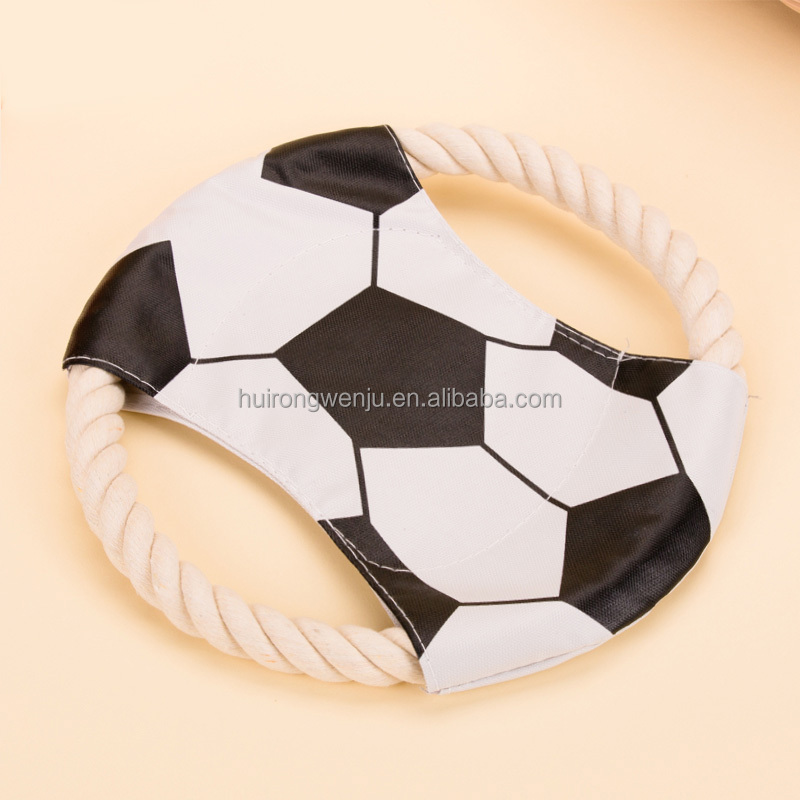 Pet dog Training Toy Resistant Bite Teeth cotton rope frisbee, pet fabric frisbee