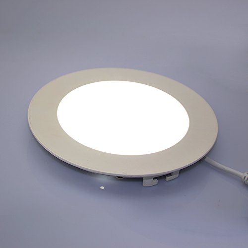 RCLITE 12W 110V Non-Dimmable Round LED Recessed Ceiling Light,600lm,Cool White(6000-6500K), Ac85-265v,Waterproof(IP54),LED Panel Light, Ultra Bright Flat Down Light With LED Driver(12 Watts)
