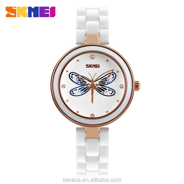 SKEMI Women Mother Pearl Dress Watches Music Note Diamond White stainless steer strap lady watch