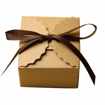 Hot sale brown with ribbon kraft candy box wedding favors gift box