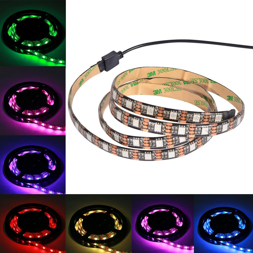 SUNWOW LED Strip Lighting for Flat Screen TV, Desktop Monitors - RGB Strip Light with 5v USB Cable - Bright colorful Strip for Background Lighting