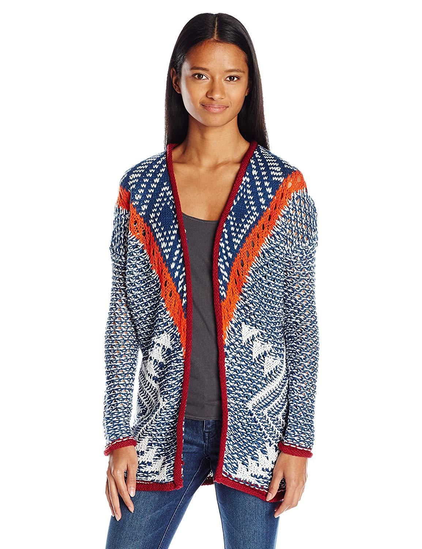 6f8b0db5cac Get Quotations · Derek Heart Juniors Mixed Jacquard Drop Shoulder Cardigan  Sweater
