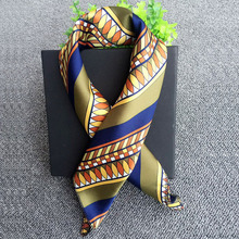 Various kinds of designs 50*50 square office ladies suit match neckerchief cheap satin scarf