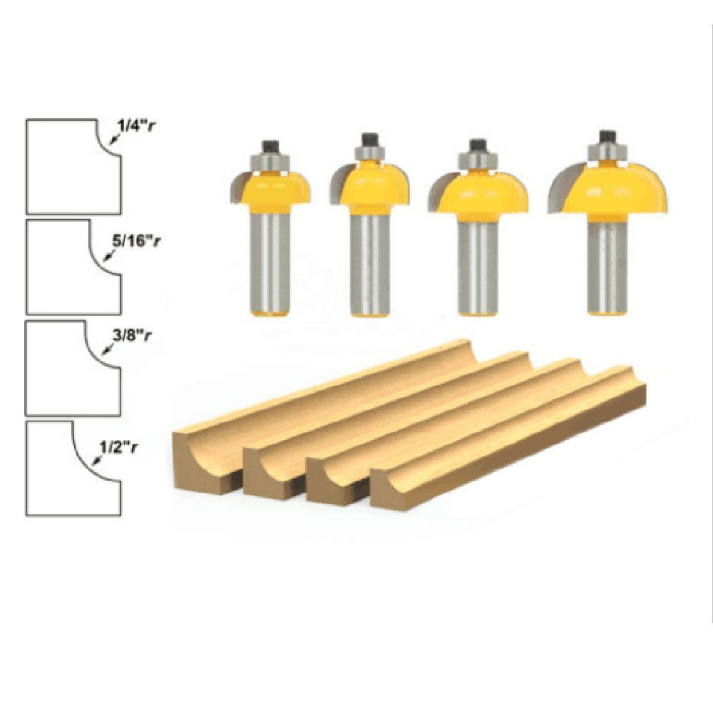 """Promisy Half-Round Radius Top Bearing Chamfering Router Bits,Carving cutting Bits For woodworking Cutter Step Circular Blade Bits Set (Shank 1/4"""")"""