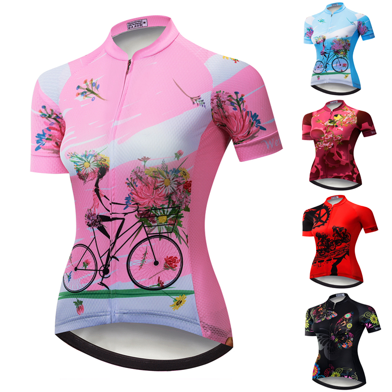 Custom Reflective Pockets Cycling Jersey Women's Short Sleeve MTB Bike Clothing Bicycle Shirt Tops Maillot Ropa Ciclismo Pink