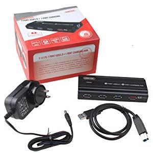 AGPtek® USB 3.0 7-Port Hub with 12V 4A Power Adapter [Highest Capacity,2 Port iPad Charging,LED Indicator]