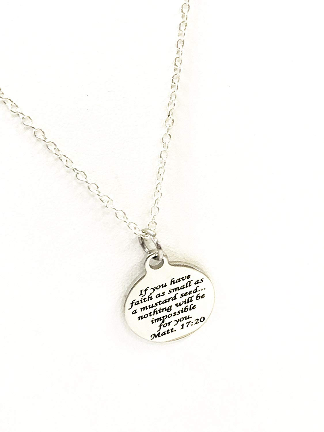Scripture Gifts, Scripture Jewelry, Mustard Seed Verse Necklace, Christian Gifts, Scripture Necklace, Bible Verse Gfits, Baptism Gifts