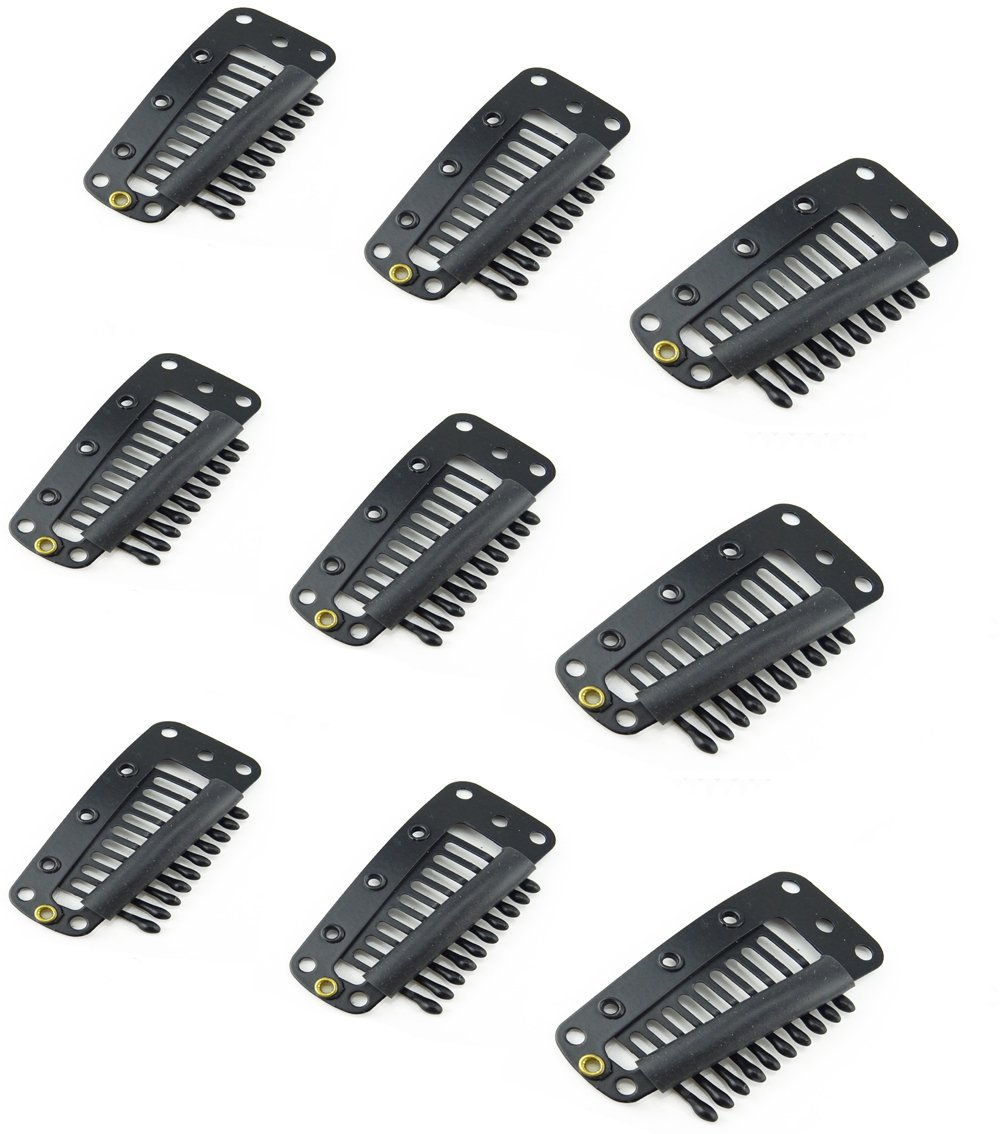 yueton 25pcs 10 Teeth Snap Comb Wig Clips with Rubber for Hair Extension