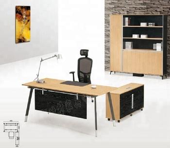 Stainless Steel Computer Desk Walnut Surface Models Of Office Desks