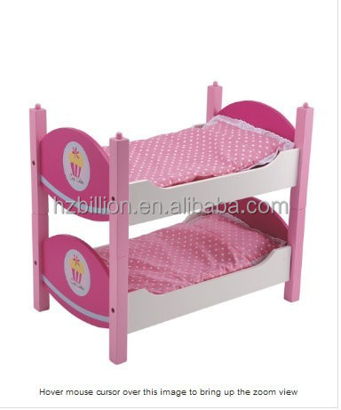 Hot Selling Pretend Play Wooden Doll Furniture Doll Bunk