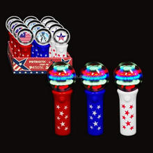 Developing Toys 4th Of July Spinning Ball Light Up Toys LED Mini Round Spinner Wand For America Patriotic Celebration