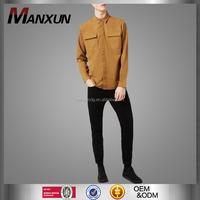 Wholesale New Design Vintage Singlet With Long Sleeve For Men Top Fashion Front Pocket Design Anti-Wrinkle Men Casual Shirt