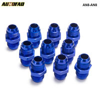 AUTOFAB - 10PCS/SET Aluminum Straight Fuel Fittings Adaptor Male Blue AN8-AN8 Thread For All Oil coole / Fuel Tank Line AN8-AN8