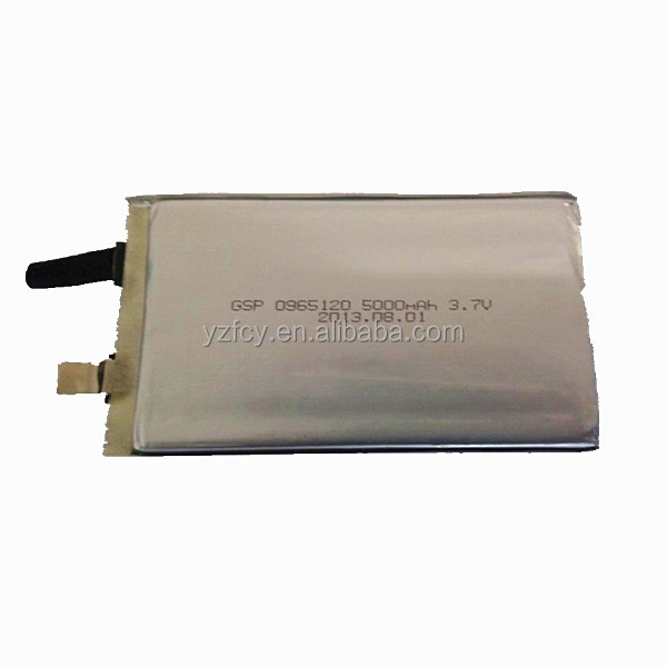 9*65*120mm HOT SALE!! high capacity lithium polymer battery 3.7v 5000mah prismatic lipo battery