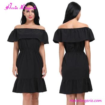 3f4d8c8595f0 fashion black off shoulder short sleeve girl one piece party designer dress