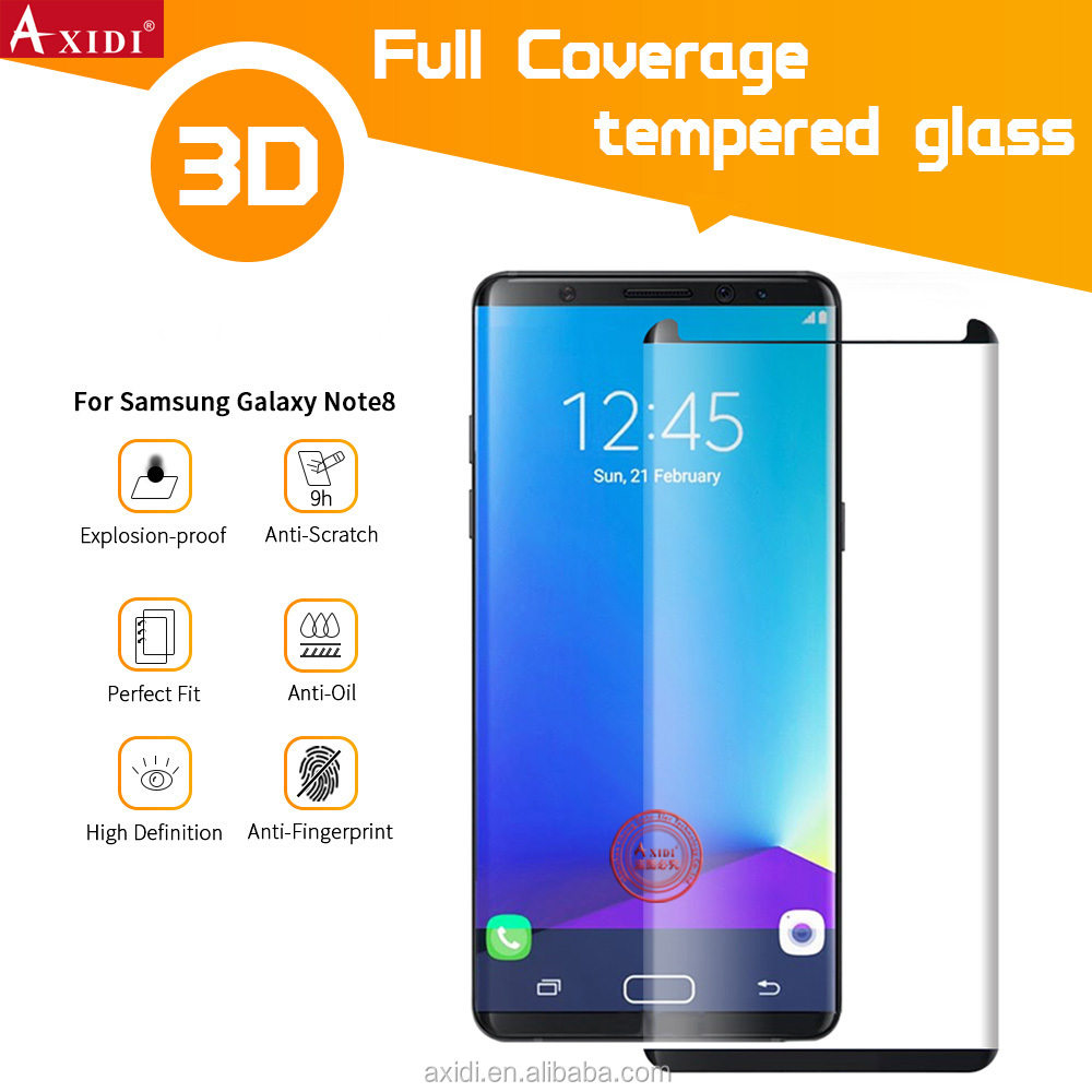 Mobile Phone Accessories Premium 3D Full Cover Tempered Glass Screen Protector for Galaxy Note 8