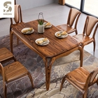 Hot sale rectangelar solid wood dining room furniture wood dinning table set 100% natural wood dinning table for home