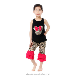 Leopard print tank top and capri pant children clothes set with ruffle
