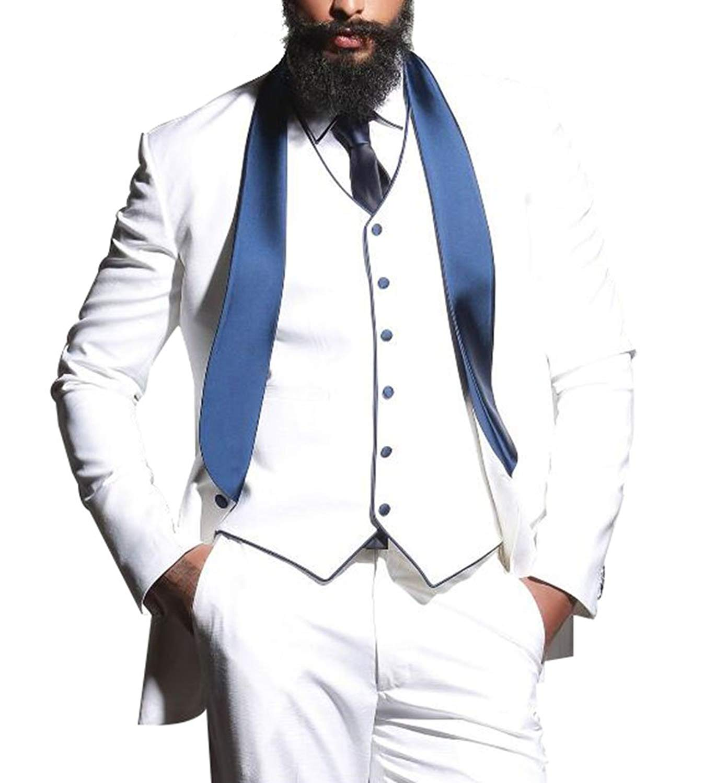 96b08da52065 Get Quotations · Rey & Aires Mens White Groom Wedding Tuxedos 3 Piece Shawl  Lapel Slim Fit Mens Suit