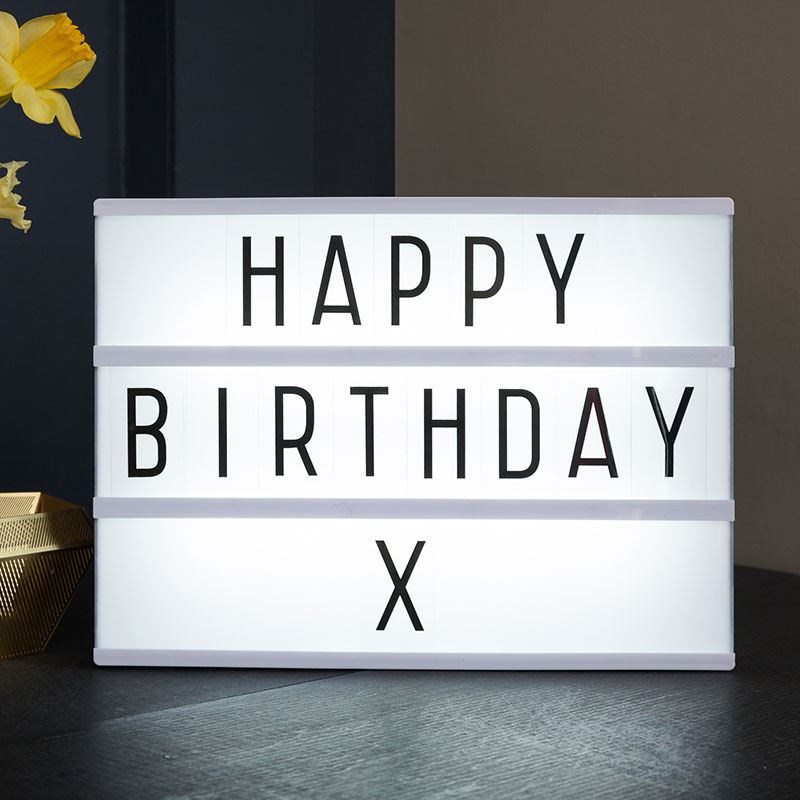 A4 Free Standing Led Light Box With 85 Coloured Letters