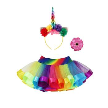 d77da0930 Kids Baby Glitter Tutu Skirts with Unicorn Horn Headband Princess Outfits  Rainbow Colorful Tutu Skirt For