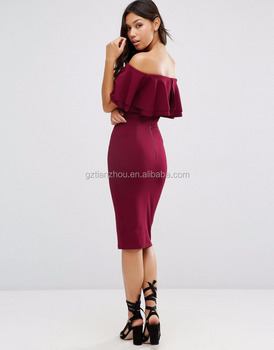 be24c9d78f8f 2016 Sexy Deep Red Off Shoulder Bodycon Dress Double Ruffle Midi Pencil  Dress Front split Party