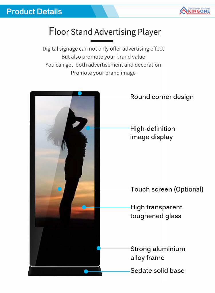 New style 32 floor standing polegadas HD Android digital signage quiosque