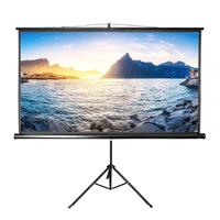 100 inch 16:9 format portable black tripod projector screen