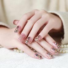 Роскошные высококачественные модные накладные ногти 24 шт. для женщин, украшения из бисера для невесты, быстрое удаление накладных ногтей ...(Китай)