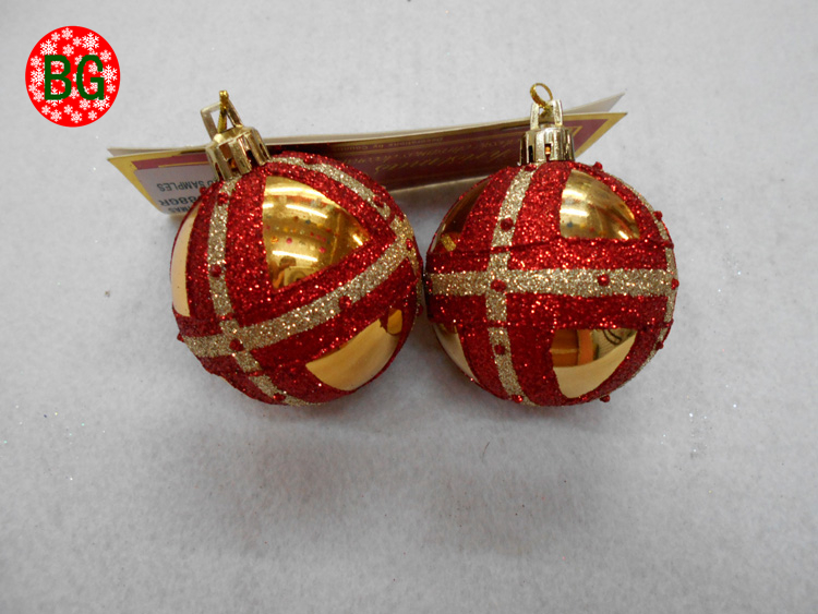 noel 8cm shiny yellow Christmas tree balls with glitter pattern