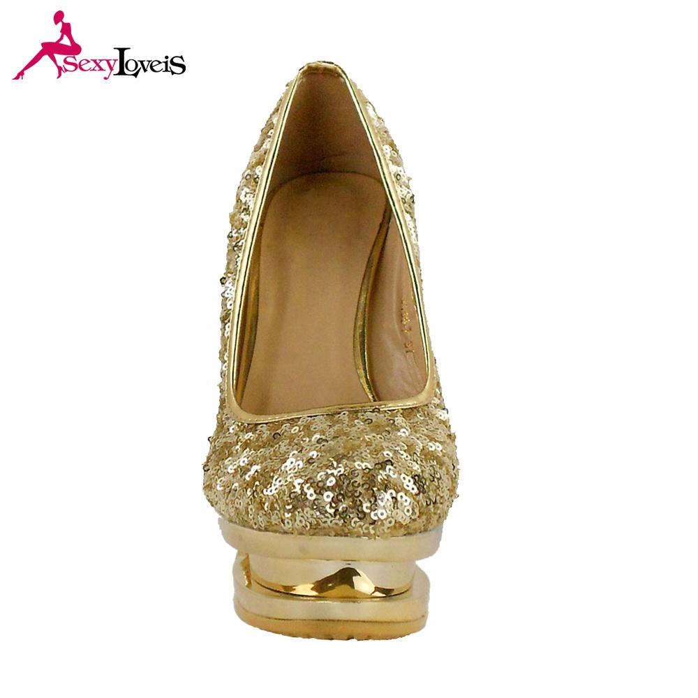 f6b12b19d 2019 جديد إمرأة تصميم الذهب كعب مريحة منصة الخنجر عالية الكعب أحذية للإناث