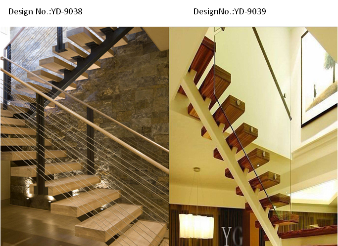 U Shape Center Stringer Steel And Wood Treads Stairs