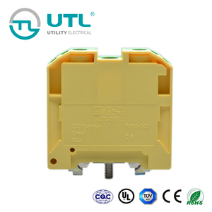 UTL Din Rail Wire Earthing Terminal Block 70mm Electric Connectors Ground Yellow Green Terminal