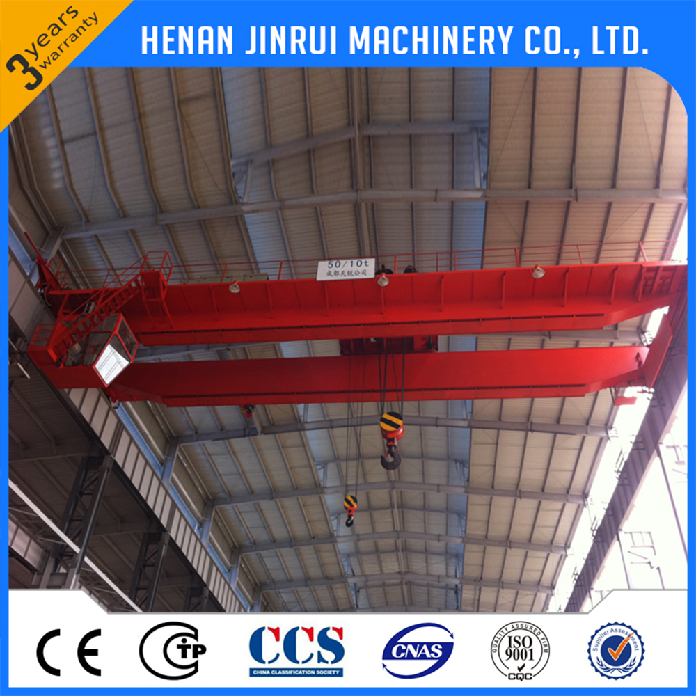 QD Steel Factory 50/10 ton Double Hook Girder Overhead Bridge Crane Design